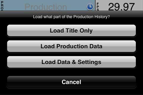 Loading Production data from saved History